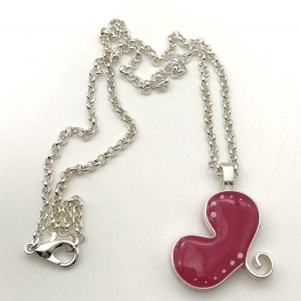 Hot Pink Dot Heart Necklace