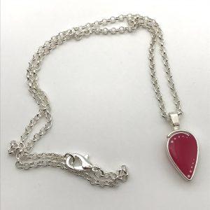 Hot Pink Inverted Teardrop Necklace