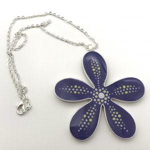 Large Purple Dot Flower Necklace