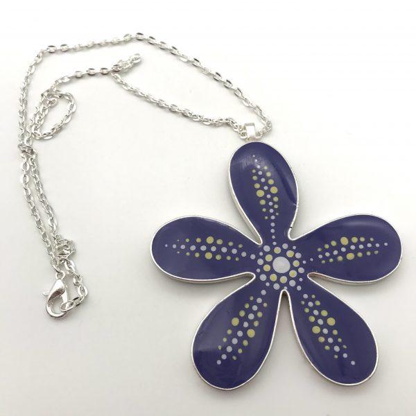 Large Purple Dot Flower Necklace