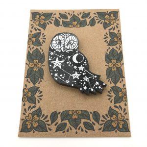 Owl - Black Glitter