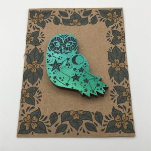 Owl - Black Iridescent (Green/Blue)