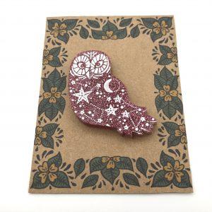 Owl - Pink Glitter