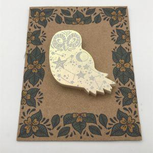 Owl - White Iridescent (Yellow/Purple)