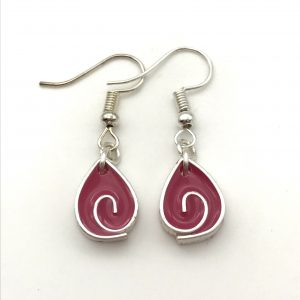 Pink Teardrop Swirl Earrings