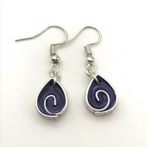Purple Teardrop Swirl Earrings