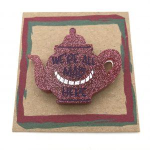 Tea Pot - Pink Glitter (Purple writing)