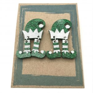 Dancing Elf Earrings - Green and White