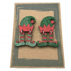 Dancing Elf Earrings - Green and Red