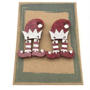 Dancing Elf Earrings - Red and White