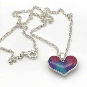 Bright Colour Mix Heart Necklace - Small