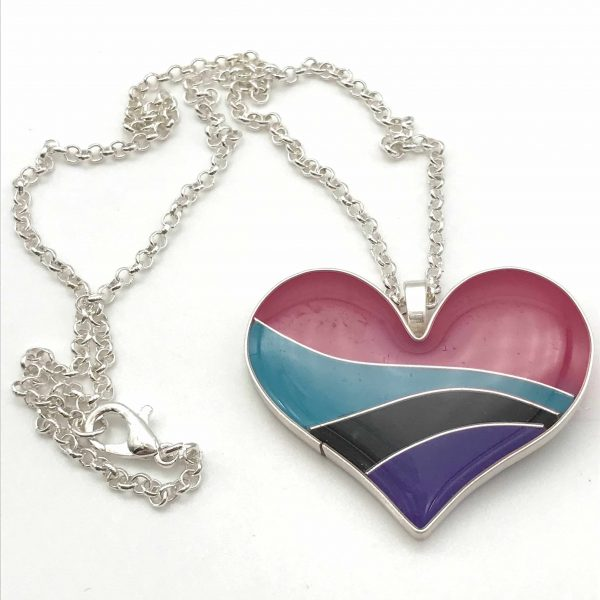 Bright Colour Wave Heart Necklace