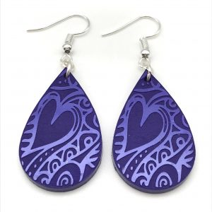 Etched Teardrop Earrings - Purple Passion