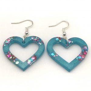 Heart Earrings - Aquamarine Sparkle