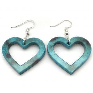 Heart Earrings - Aquamarine and Black