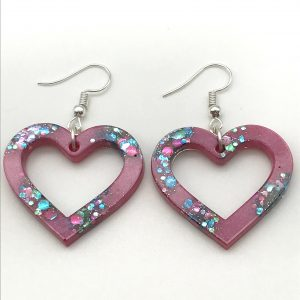 Heart Earrings - Pink Sparkle