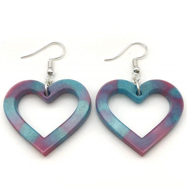Heart Earrings - Pink and Aquamarine