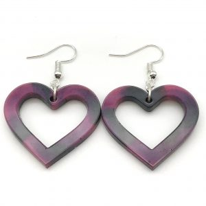 Heart Earrings - Pink and Black