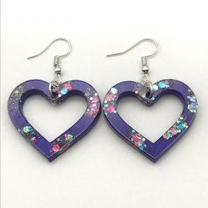 Heart Earrings - Purple Sparkle