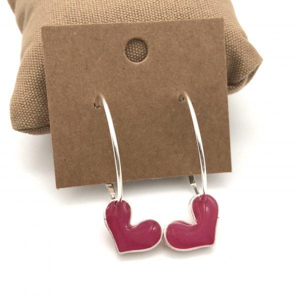 Heart Hoop Earrings - Hot Pink