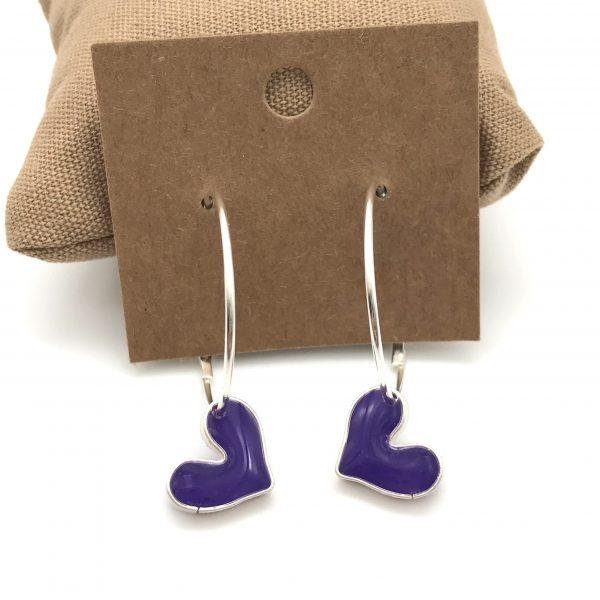 Heart Hoop Earrings - Purple