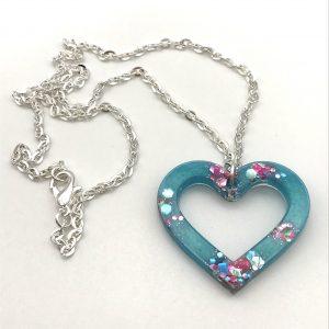 Heart Necklace - Aquamarine Sparkle