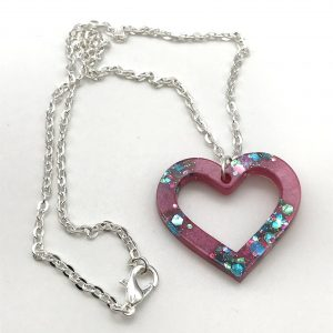 Heart Necklace - Pink Sparkle