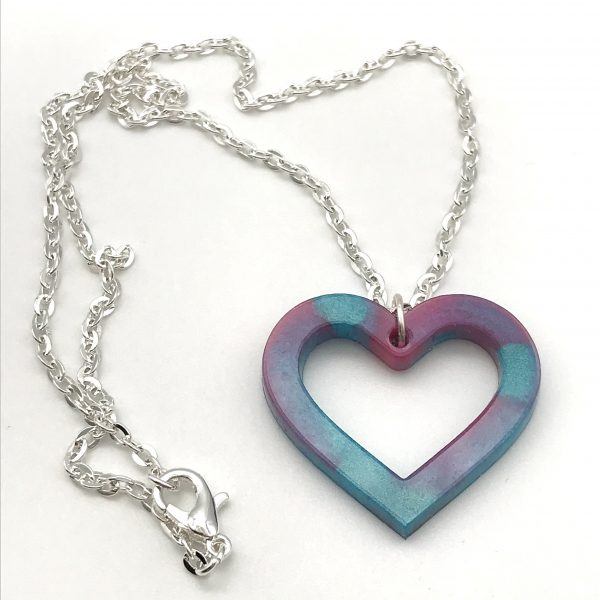 Heart Necklace - Pink and Aquamarine