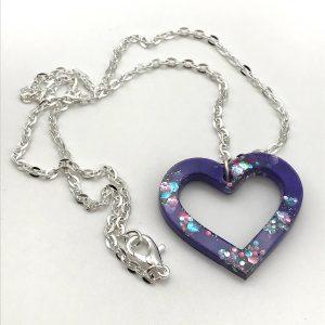 Heart Necklace - Purple Sparkle