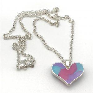 Pastel Colour Mix Heart Necklace - Small