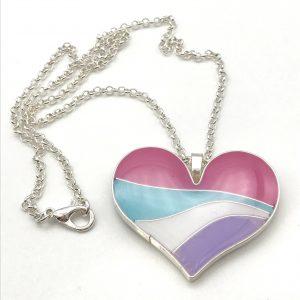 Pastel Colour Wave Heart Necklace