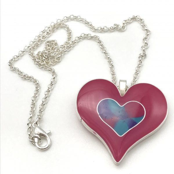 Pink Double Heart Necklace