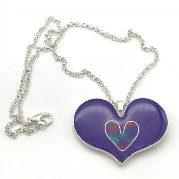 Purple Double Heart Necklace