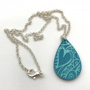 Etched Heart Necklace - Aquamarine