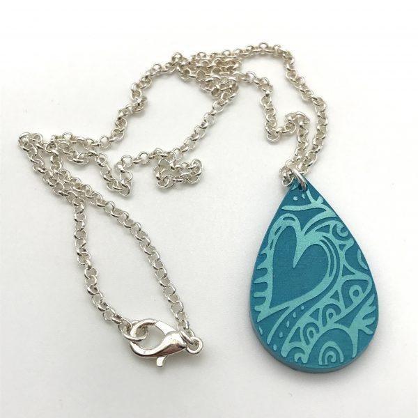 Etched Heart Necklace - Aquamarine