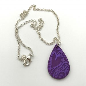Etched Heart Necklace - Purple
