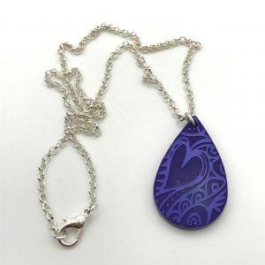 Etched Heart Necklace - Purple Passion