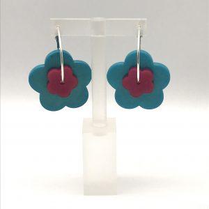 Flower Hoop Earrings - Various Colours