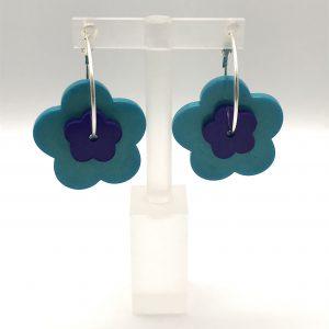 Flower Hoop Earrings - Aquamarine/Purple