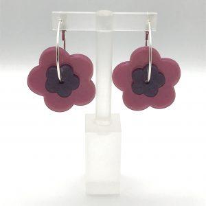 Flower Hoop Earrings - Dusky Pink/Purple