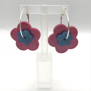 Flower Hoop Earrings - Pink/Blue