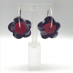 Flower Hoop Earrings - Purple Swirl/Pink