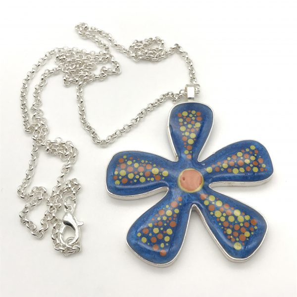 Abstract Dot Flower Necklace - Blue (Large)