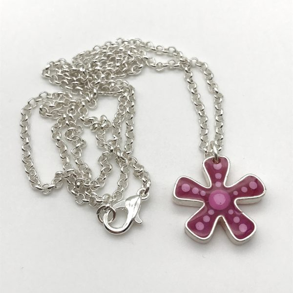 Abstract Dot Flower Necklace - Pink