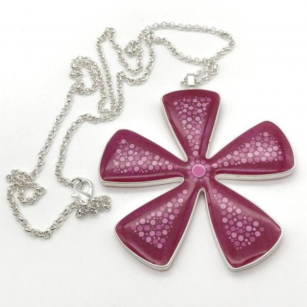 Abstract Dot Flower Necklace - Pink (Large)