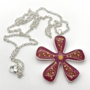Abstract Dot Flower Necklace - Pink (Medium)