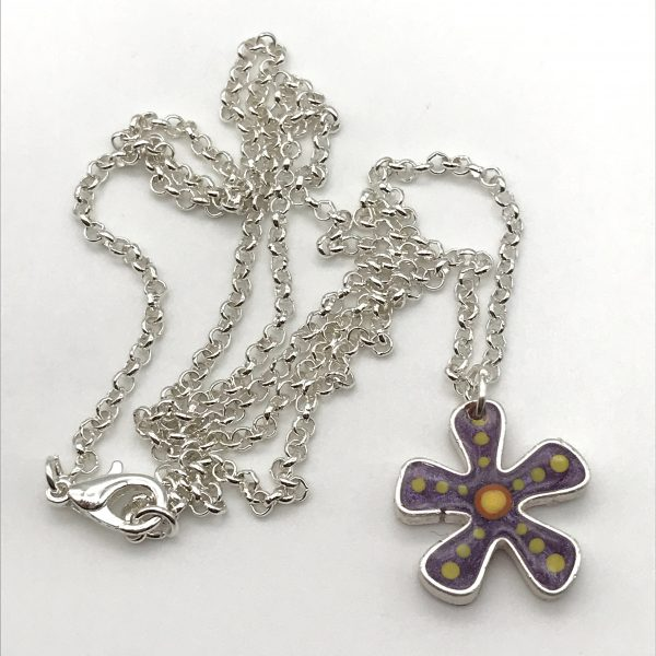 Abstract Dot Flower Necklace - Purple