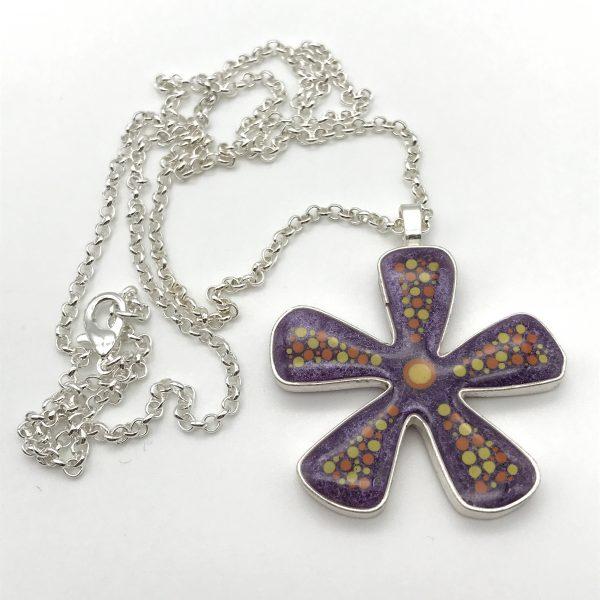 Abstract Dot Flower Necklace - Purple (Medium)