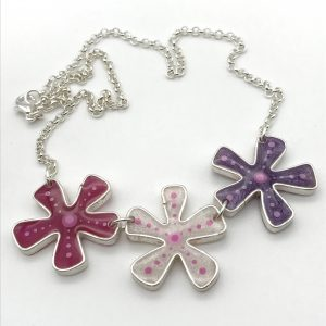 Abstract Dot Flower Necklace - Triple