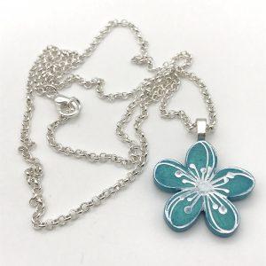 Etched Flower Necklace - Aquamarine